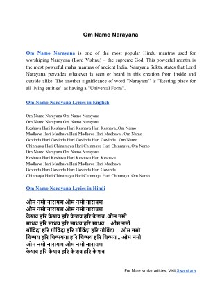 Om Namo Narayana - Lyrics and Meanins