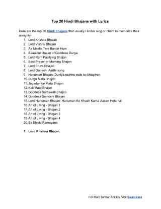 PPT - Hindi Bhajans With Lyrics PowerPoint Presentation - ID:7612054
