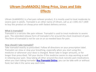 Ultram (traMADOL) 50mg Price, Uses and Side Effects