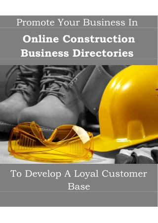 Promote Your Business On Online Construction Business Directories