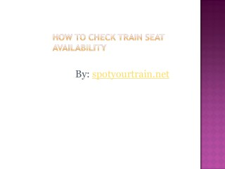 Check Train Seat Availability
