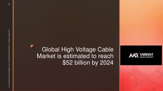 Global High Voltage Cable Market is estimated to reach $52 billion by 2024