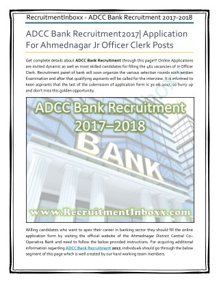 ADCC Bank Recruitment
