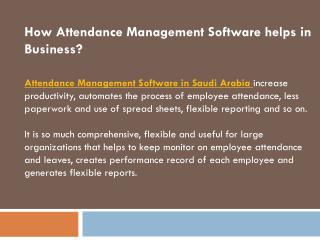 Attendance Management Software in Saudi Arabia