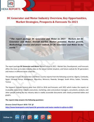 Dc generator and motor industry overview, key opportunities, market strategies, prospects and forecasts TO 2021