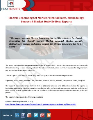 Electric generating set market potential rates, methodology, sources and market study by hexa reports