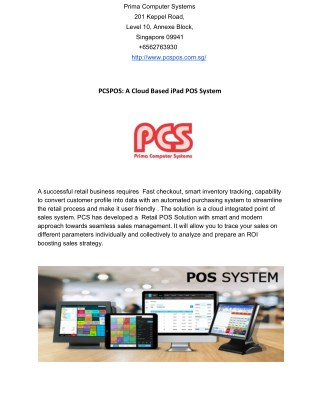 PCSPOS: A Cloud Based iPad POS System