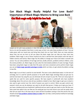 Can Black Magic Really Helpful For Love Back? Importance of Black Magic Mantra to Bring Love Back