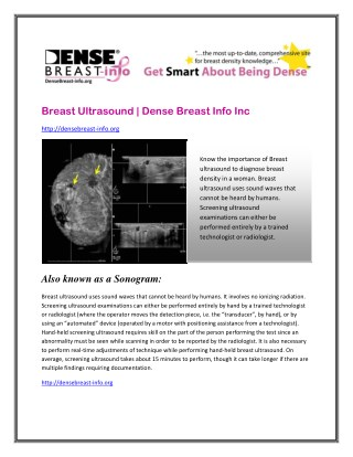 Breast Ultrasound | Dense Breast Info Inc.