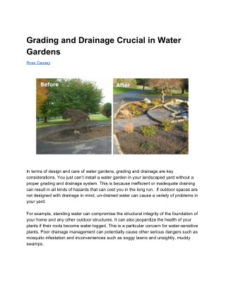Grading and Drainage Crucial in Water Gardens