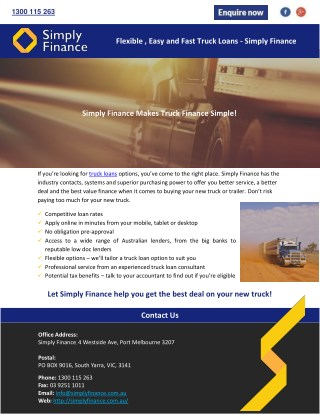 Flexible, Easy and Fast Truck Loans - Simply Finance