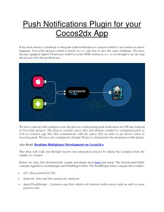 Complete steps to Integrate Push Notification for Your Cocos2dx App with Push Notifications Plugin.