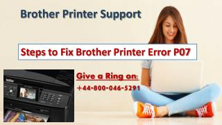 How to Fix Brother Printer Error P07| 44-800-046-5291