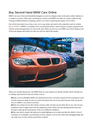 Buy Second Hand BMW Cars Online
