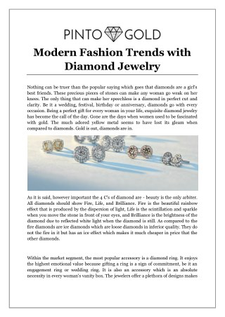 Modern Fashion Trends with Diamond Jewelry
