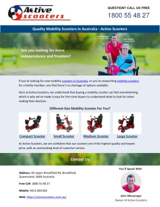 Quality Mobility Scooters in Australia - Active Scooters