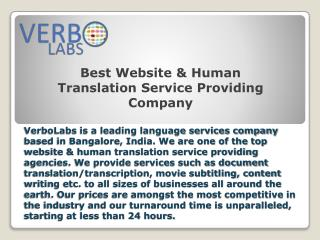 Best Website & Human Translation Service Providing Company