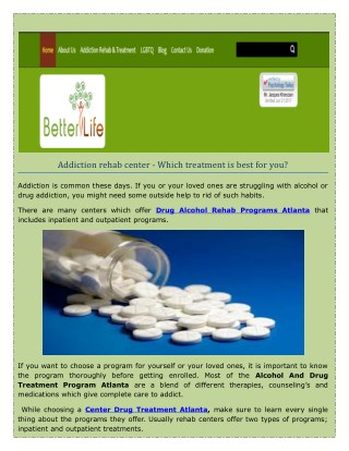 Drug And Alcohol Addiction Treatment Services in Atlanta, GA