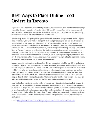 Best Ways to Place Online Food Orders In Toronto