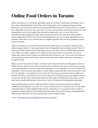 Online Food Orders in Toronto