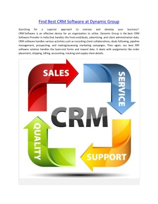 Find Best CRM Software at Dynamic Group