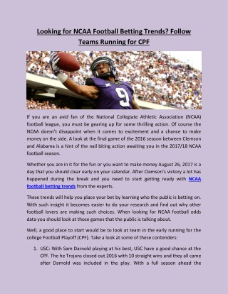 Looking for NCAA Football Betting Trends? Follow Teams Running for CPF