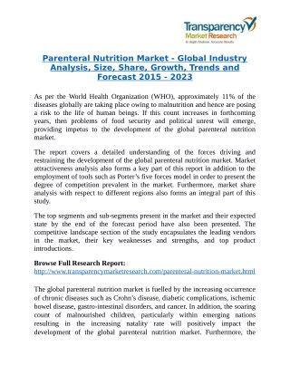 Parenteral Nutrition Market will rise to US$ 6.9 Billion by 2023