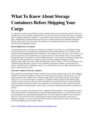What To Know About Storage Containers Before Shipping Your Cargo