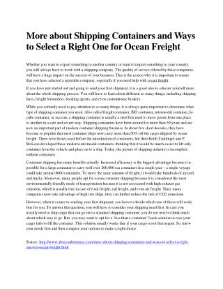 More about Shipping Containers and Ways to Select a Right One for Ocean Freight