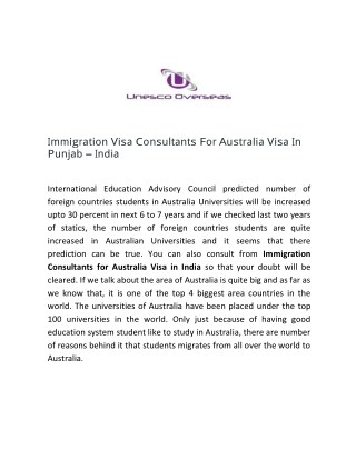 Immigration Visa Consultants For Australia Visa In Punjab - India