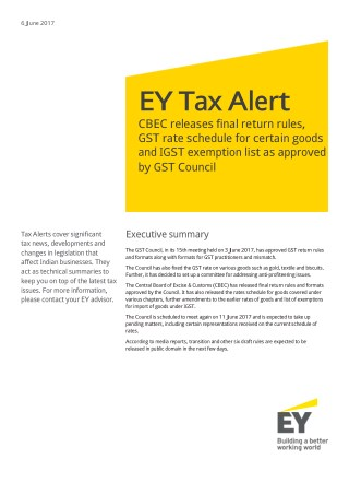 EY Tax Alert - Rules about GST