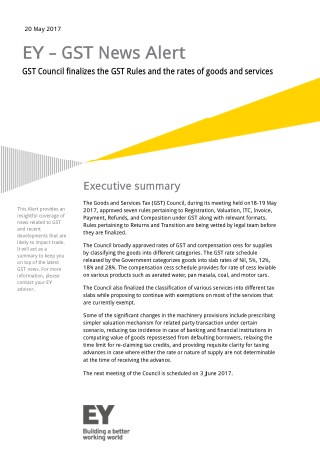 GST Council finalizes GST Rules & rates of goods and services - EY INDIA
