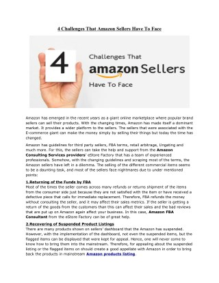 4 Challenges That Amazon Sellers Have To Face