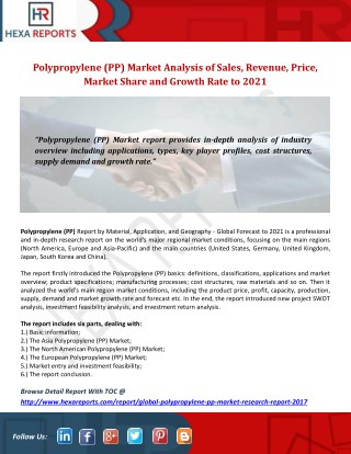Polypropylene (PP) Market Analysis of Sales, Revenue, Price, Market Share and Growth Rate to 2021