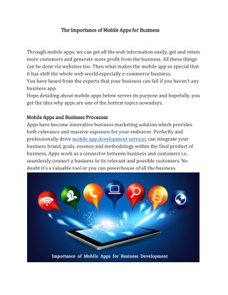 The Importance of Mobile Apps for Business