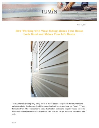 How Working with Vinyl Siding Makes Your House Look Good and Makes Your Life Easier