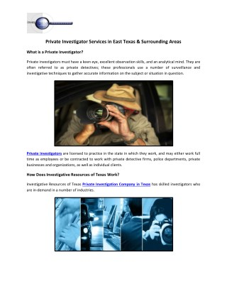 Private Investigator Services in East Texas & Surrounding Areas