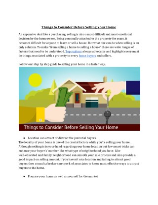 Things to Consider Before Selling Your Home