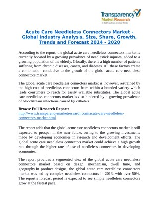 Acute Care Needleless Connectors Market will rise to US$ 972 Million by 2020
