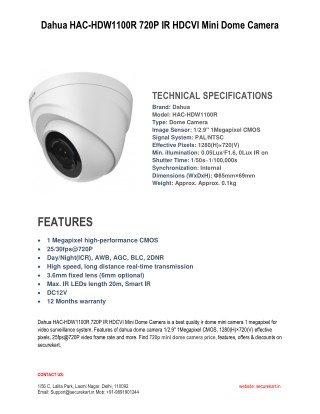 Dahua HAC-HDW1100R 720P IR HDCVI Mini Dome Camera