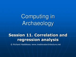 Computing in Archaeology