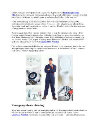 Drain Cleaning Plumbing Services