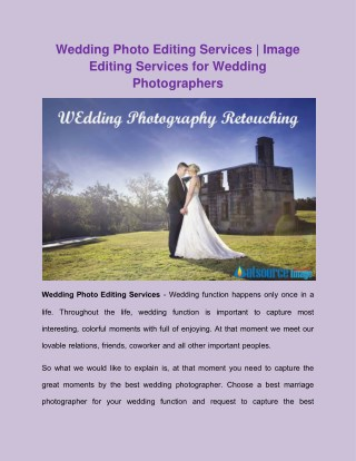 Wedding Photo Editing Services | Image Editing Services for Wedding Photographers