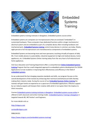 Embedded systems training institutes in Bangalore, Embedded systems course online