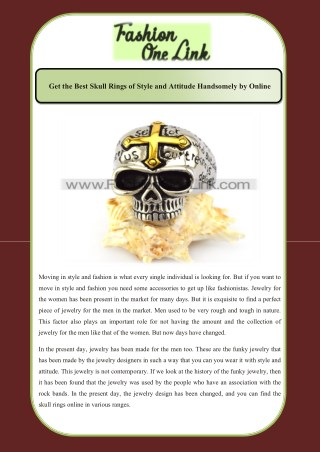 Get the Best Skull Rings of Style and Attitude Handsomely by Online