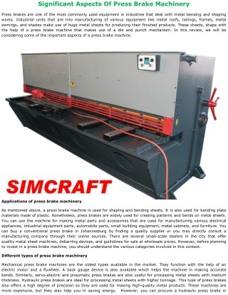 Significant Aspects Of Press Brake Machinery