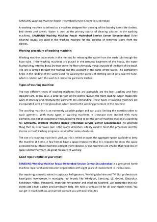 SAMSUNG Washing Machine Repair Hyderabad Service Center Secunderabad