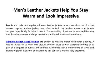 Men's Leather Jackets Help You Stay Warm and Look Impressive