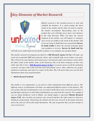 Key Elements of Market Research