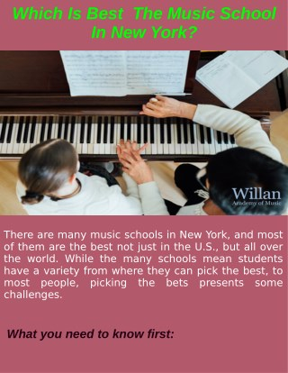 Find The Best Music School In New York